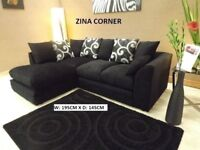 corner chenille fabric sofa in black, call me now, many other sofas and beds on offer to choose from