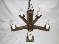 2 x beautiful wooden 5 light ceiling chandelier pendant PAIR IN EXCELLENT CONDITION