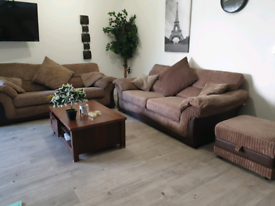 DFS FABRIC SOFAS AND FOOT STOOL STORAGE