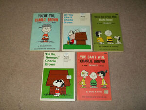 "5 Vintage Charlie Brown Books ""Two First Editions"""