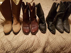 Cowboy boots (3) pairs and (1)  Roper-Biker Boots