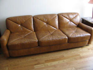 Long comfy vinyl couch