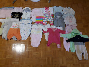 0-3 MONTHS BABY GIRL CLOTHING - OVER 60 PIECES