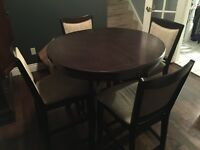 Bar height dining kitchen table with 4 chairs