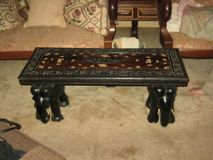 ANTIQUE ELEPHANT TABLE WITH IVORY INLAY