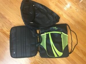 NEW 3 black vinyl duffel sling tablet bags -ALL for $20 total