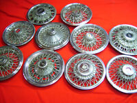 """14"""" and 15"""" metal spooked hub caps for sale."""