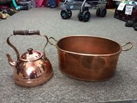 Copper kettle and fish pan