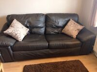 Brown Leather Sofa & Power Recliner Chair