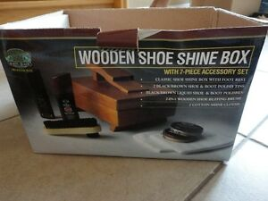 Brand new in box wooden shoe shine box kit footwear care kit London Ontario image 9
