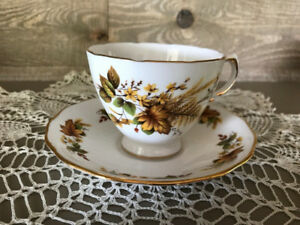 ROYAL VALE TEACUP & SAUCER AUTUMN LEAVES &YELLOW FLOWERS