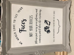 Unplugged wedding ceremony sign and frame!