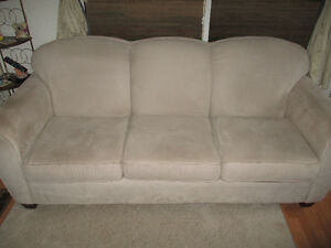 Beige Micro suede 3 Cushion Couch
