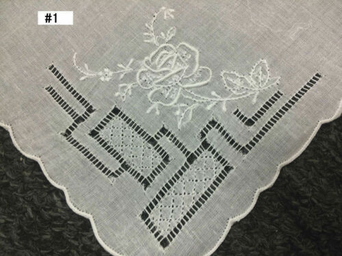 12 Pieces Hand Stitch Embroidered Embroidery Fine Linen Handkerchief Hankie