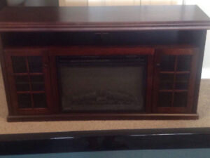 TV console with electric fireplace