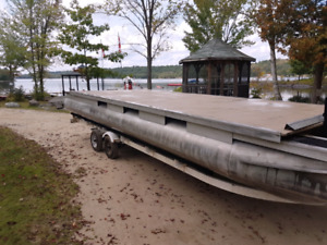 Pontoon barge or dock 24 by 8 new deck and anti-slip flooring