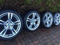 "GENUINE BMW 3/4 SERIES 18"" 400M M Sport ALLOY WHEELS & RUNFLAT TYRES F30 F31 F32"