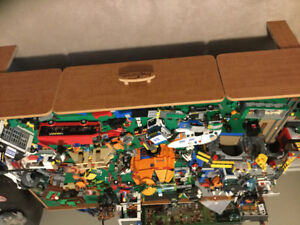Huge LEGO lot includes huge LEGO city on table with LEGO grids