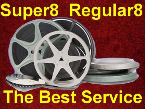 3000 - 4000 ft Super8 Regular8 8mm Film to MP4 Files or DVD Transfer Convert HD