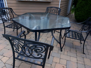 Black Patio Table & 4 Chairs