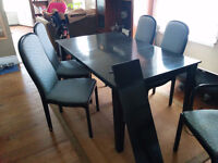 Black Wood Dining Room Table with 8 Chairs
