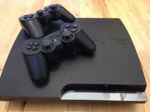 PS3 Slim, two controllers