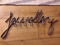 Jewellery wall hanger sign