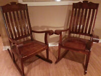 Two Hand Carved/Brass Inlaid Rocking Chairs