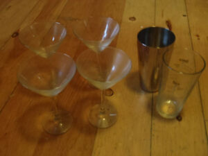 Martini Glasses and Mixing glass