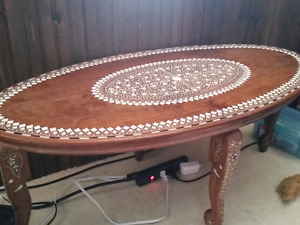 Gorgeous Antique elephant coffee table with real Ivory inlay