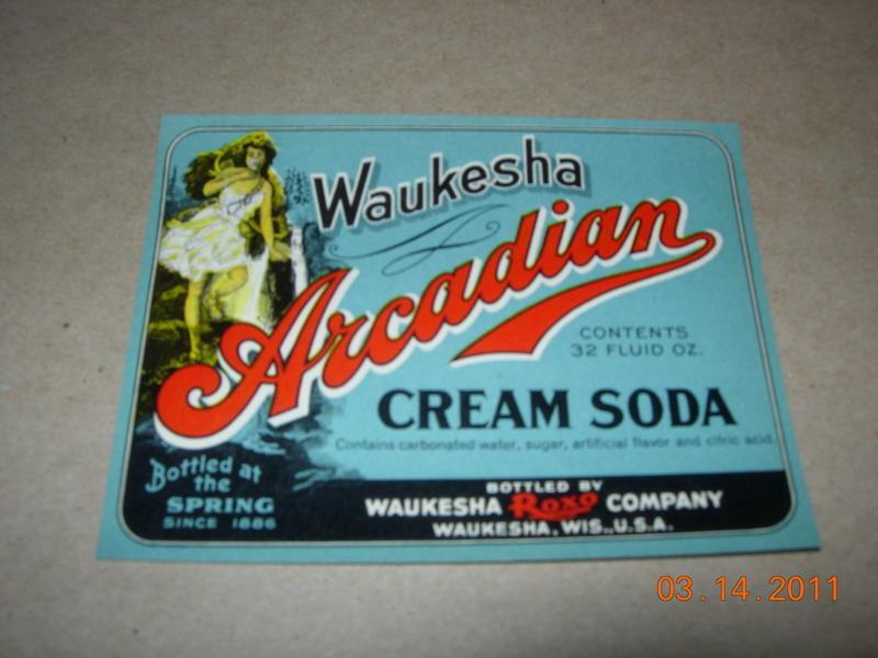 1922 WAUKESHA ARCADIAN CREAM SODA LABEL
