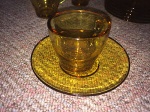 12 Cup & Saucer Espresso Coffee Tea Set Amber Glass