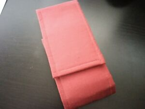 Handmade red plush-lined fountain pen case