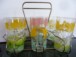 SET OF 6 VINTAGE JUICE GLASSES WITH CADDY