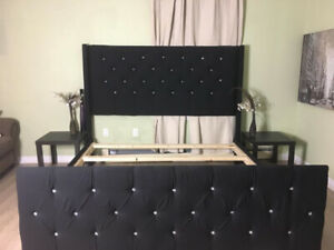 Black kingsize Tuffted Headboard and upolstered frame