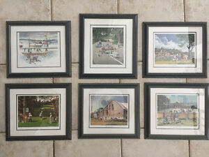 Set of 6 Gallery Framed, Double Matted Prints