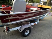 Lund 12ft Fishing Boat with 9.9 Outboard and Trailer
