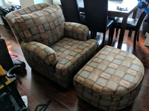 Armchair and ottoman - brown/grey - excellent condition