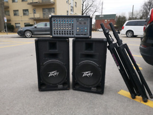 "Pa system 15"" peavey speakers and fender mixer"