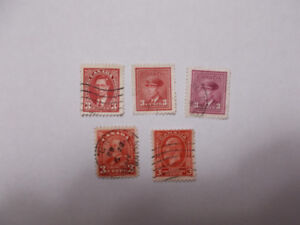 5 - 3 Cent Early Canadian Stamps
