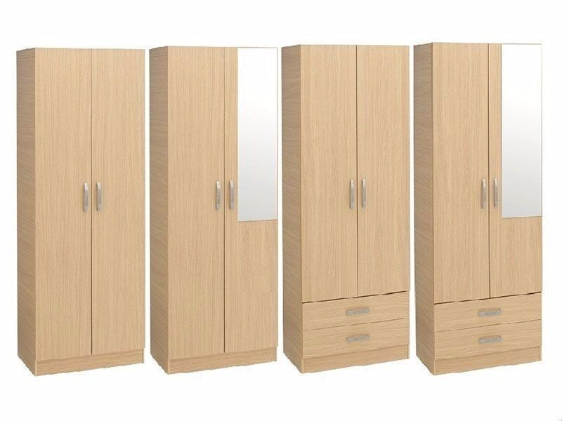 **100% GUARANTEED PRICE!**BRAND NEW-2 Door Solid Wood Plain Assembled Wardrobe With Drawers & Mirror