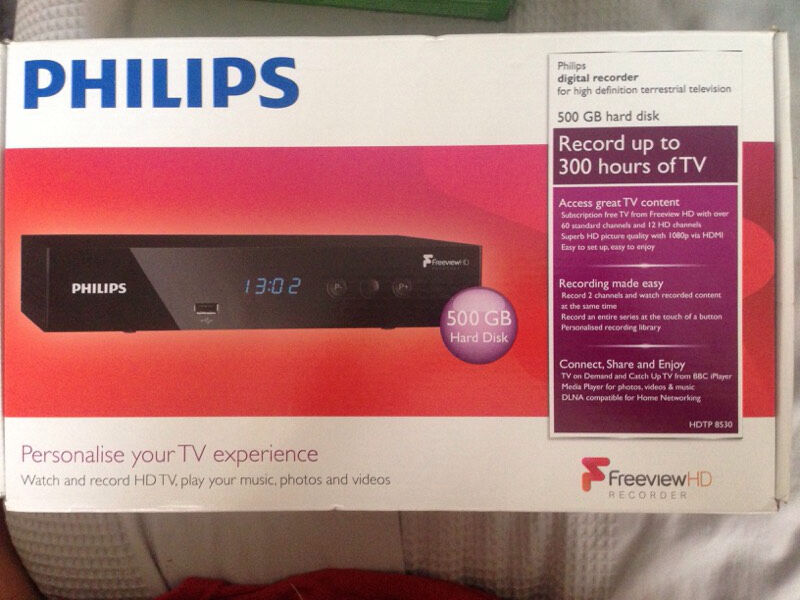 Philips Freeview HD Recorderin Oldbrook, BuckinghamshireGumtree - Philips Philips Digital recorder for high definition terrestrial television 500 GB hard disk, Record up to 300 hours of TV Connect Share & Enjoy tv on demand & catch up TVs from BBCiplayer Media player for photos videos & music DLNA compatible for...