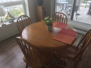 Oak Table and 4 Oak Chairs