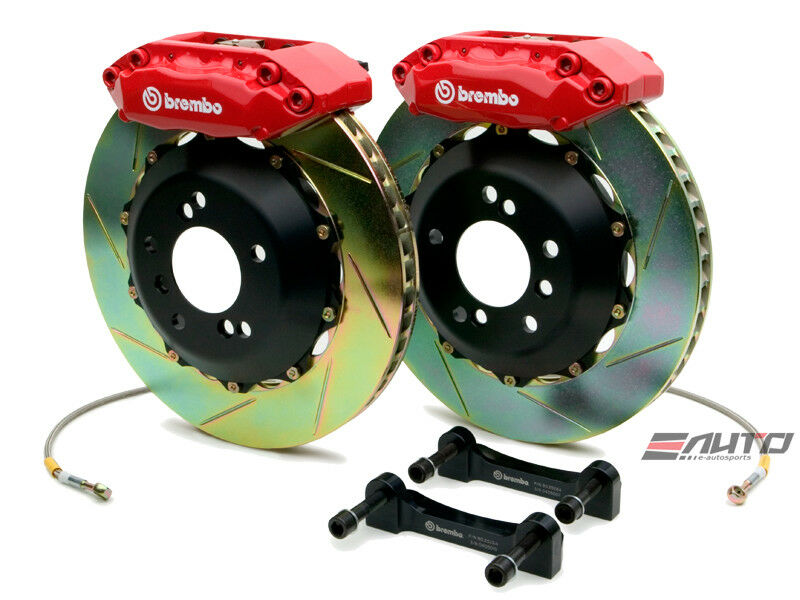 Brembo Front Gt Bbk Brake 4pot Red 328x28 Slot Disc Rotor S2000 00-09 Ap1 Ap2