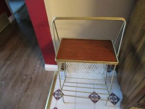 MAGAZINE RACK WITH DISPLAY SHELF - VINTAGE