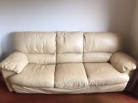 Cream leather sofas - 3 seater & 2 seater + stool