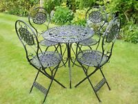 Garden Table and Chairs Antique Cream or Black Colour