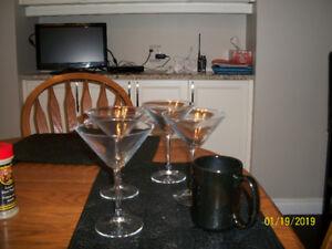 martini glasses and wine glasses for sale