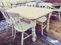 Farmhouse table / dining table and 4 kitchen dining chairs