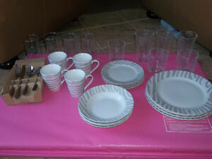 BRAND NEW, DISH SET, SILVERWARE AND GLASSES, $60